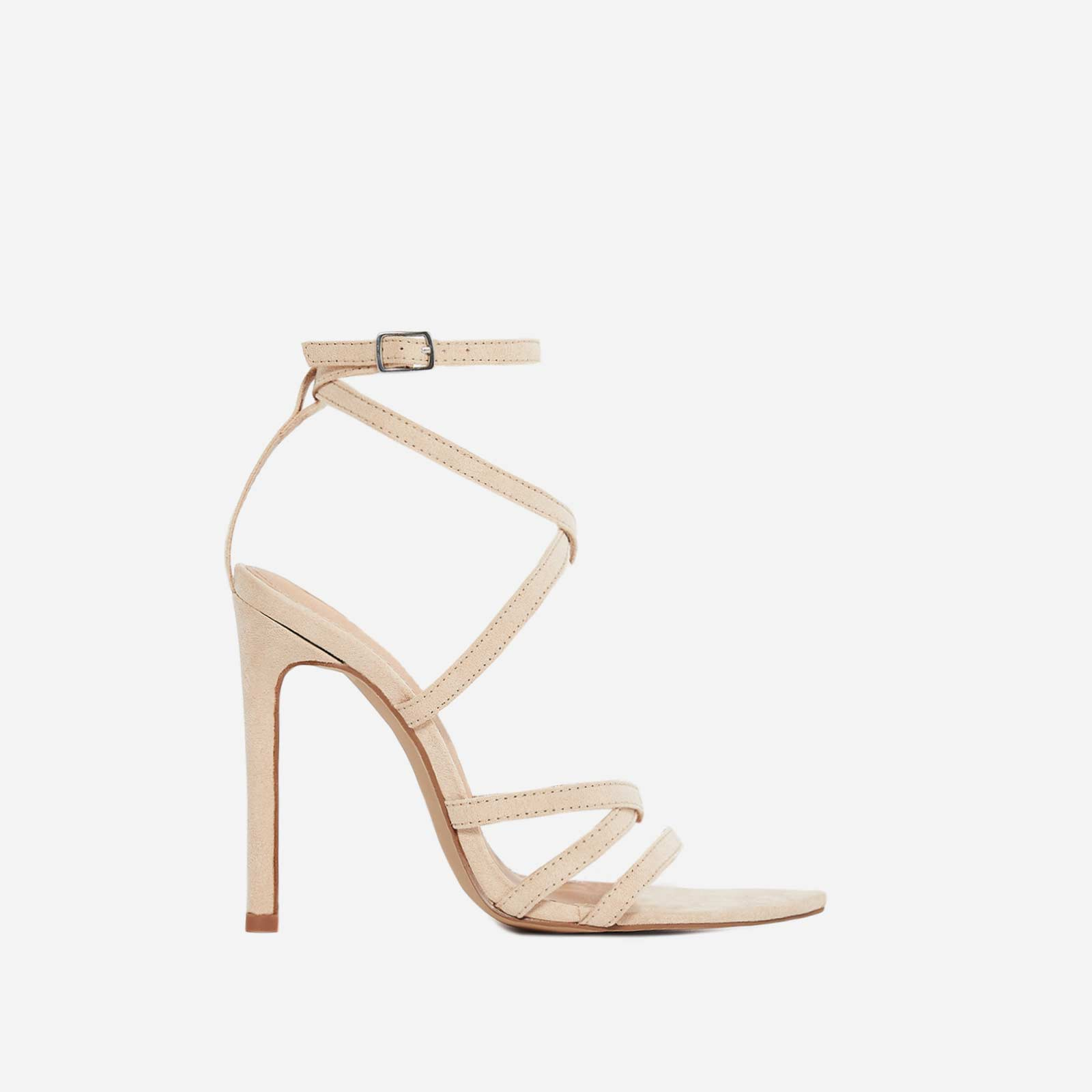 Rukaya Pointed Barely There Heel In Nude Faux Suede