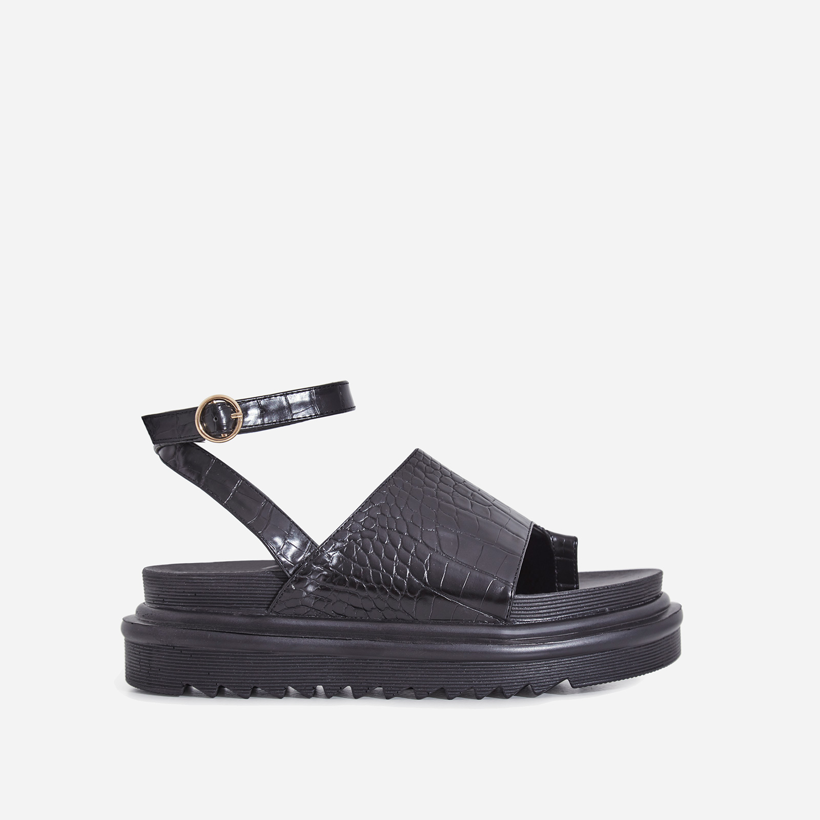 Ruth Chunky Sole Sandal In Black Croc Print Faux Leather
