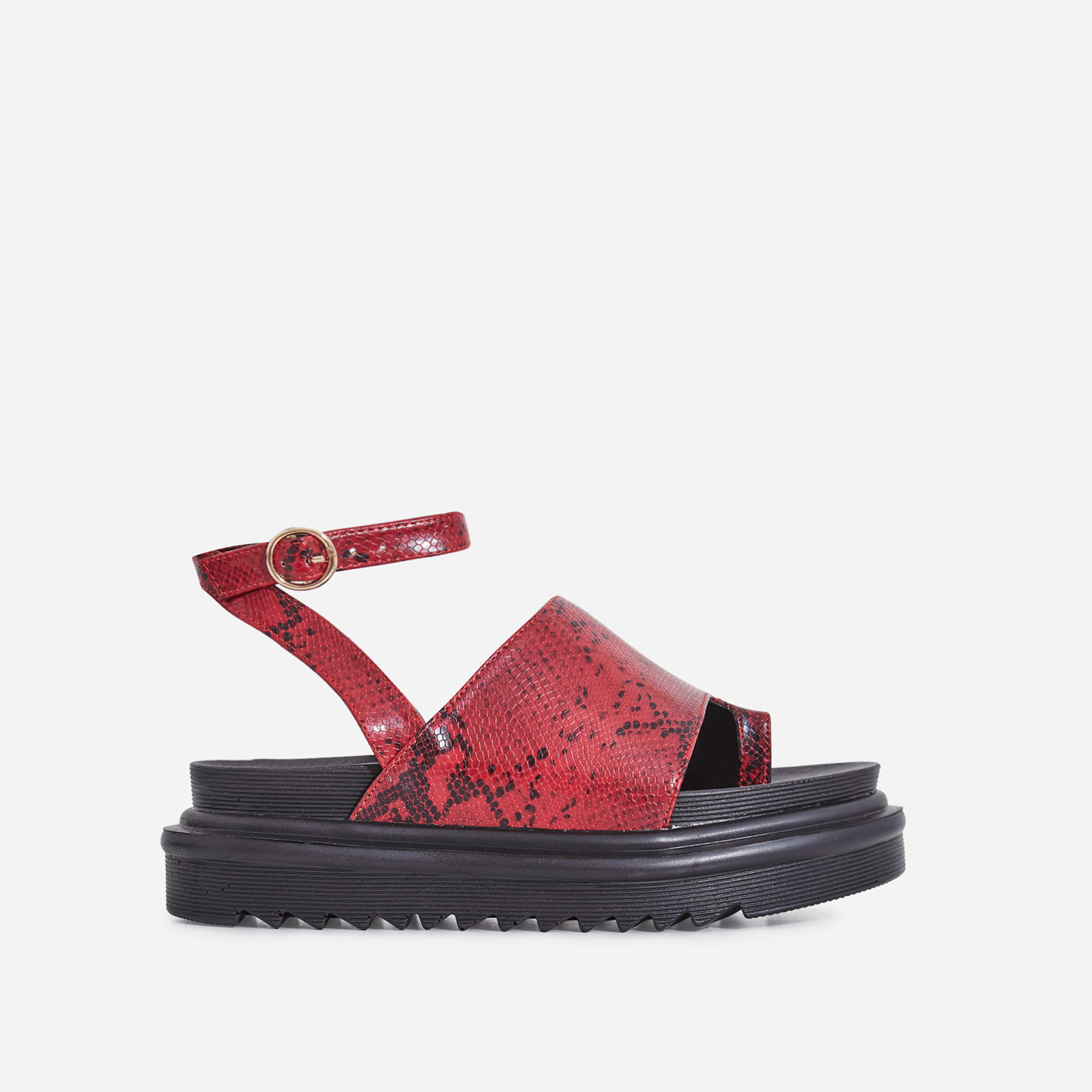 Ruth Chunky Sole Sandal In Burgundy Snake Print Faux Leather