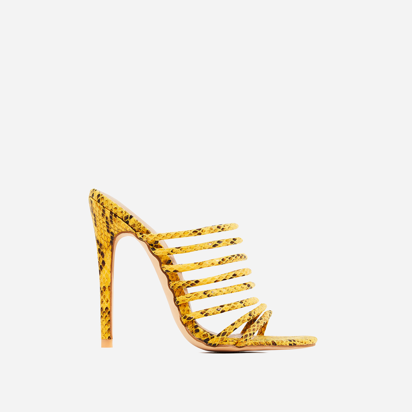 Saffiyah Strap Detail Heel Mule In Yellow Snake Faux Leather