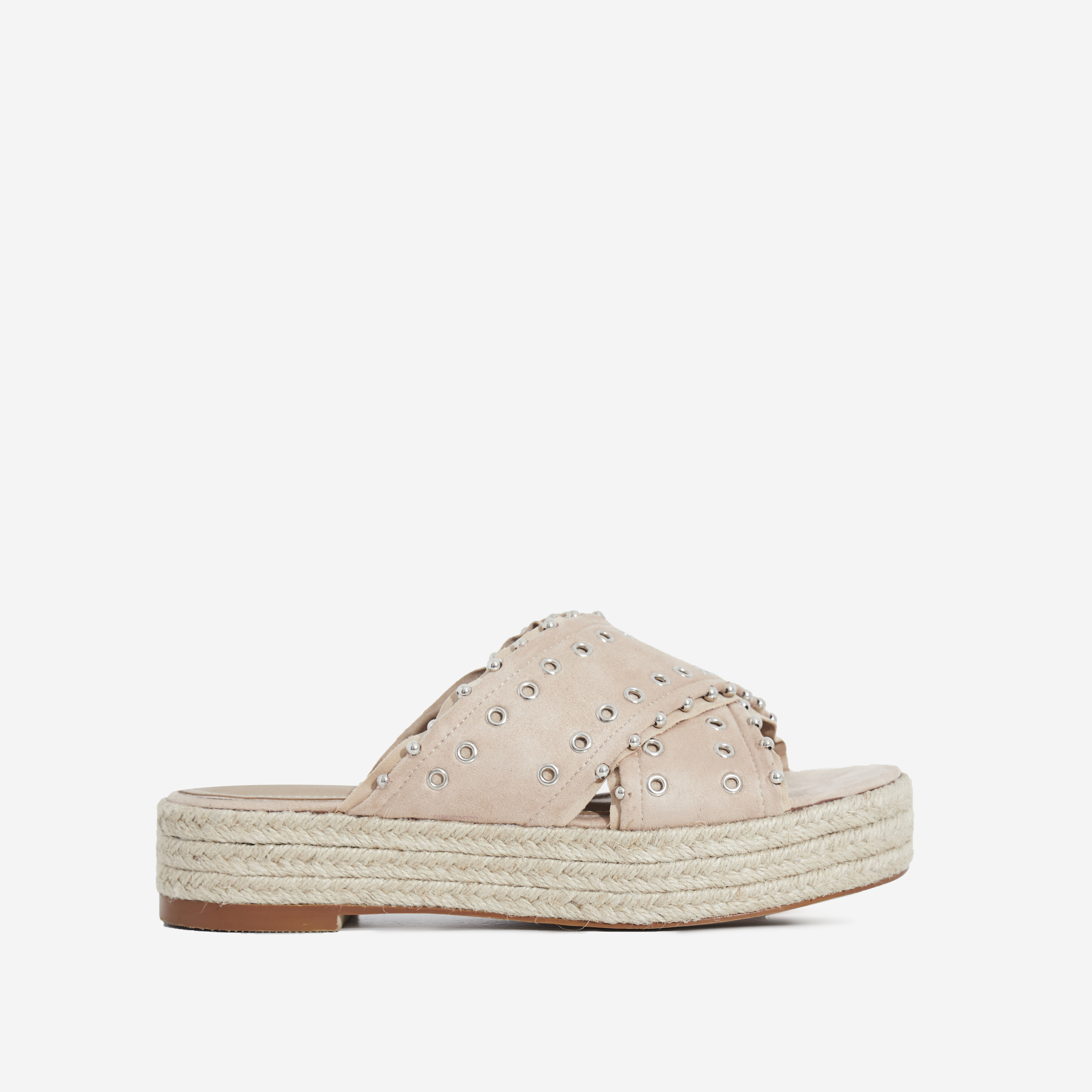 Salina Studded Crossover Strap Espadrille Sandal In Nude Faux Suede