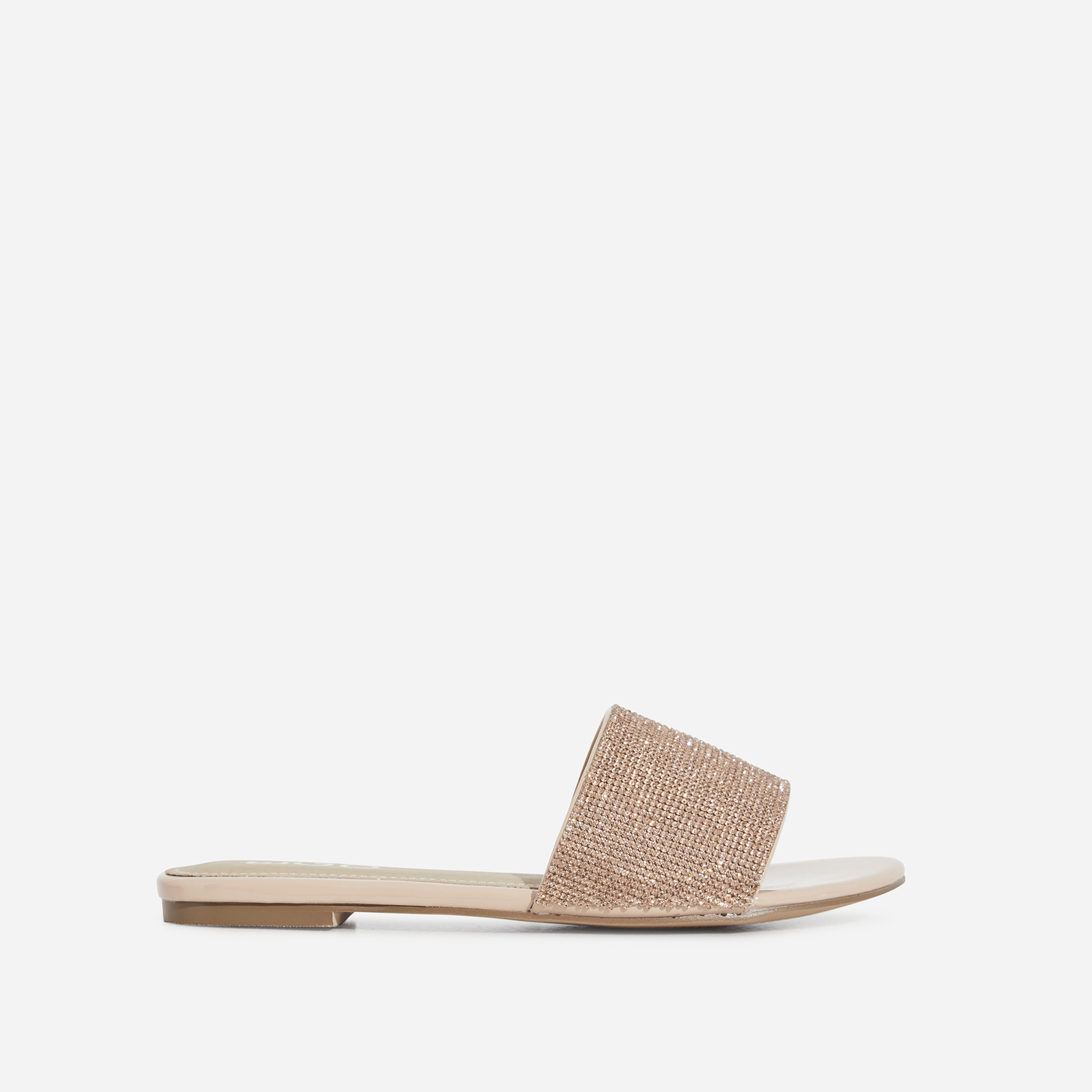 Samaya Diamante Detail Slider In Nude Faux Leather