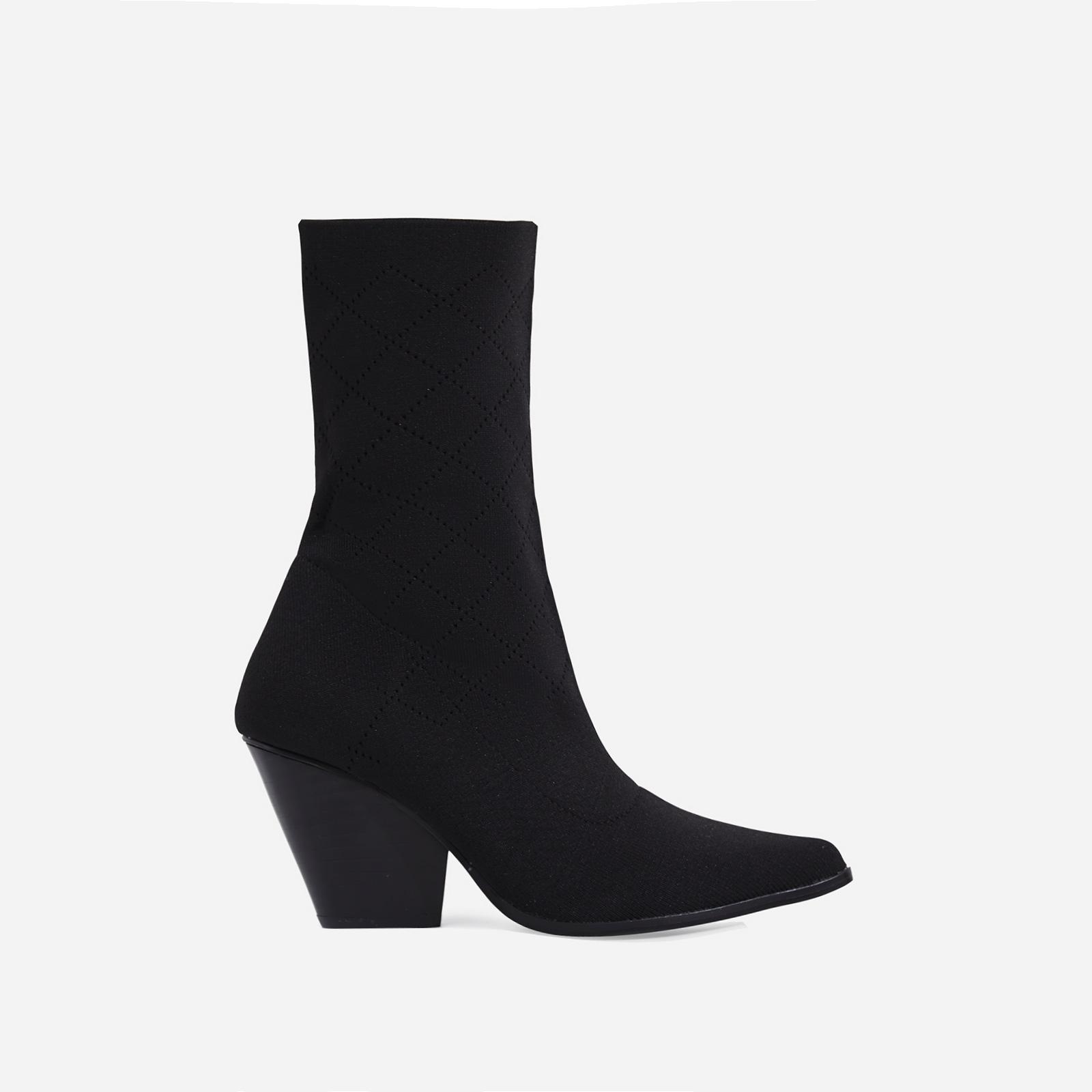 Sammy Block Heel Sock Western Ankle Boot In Black Knit