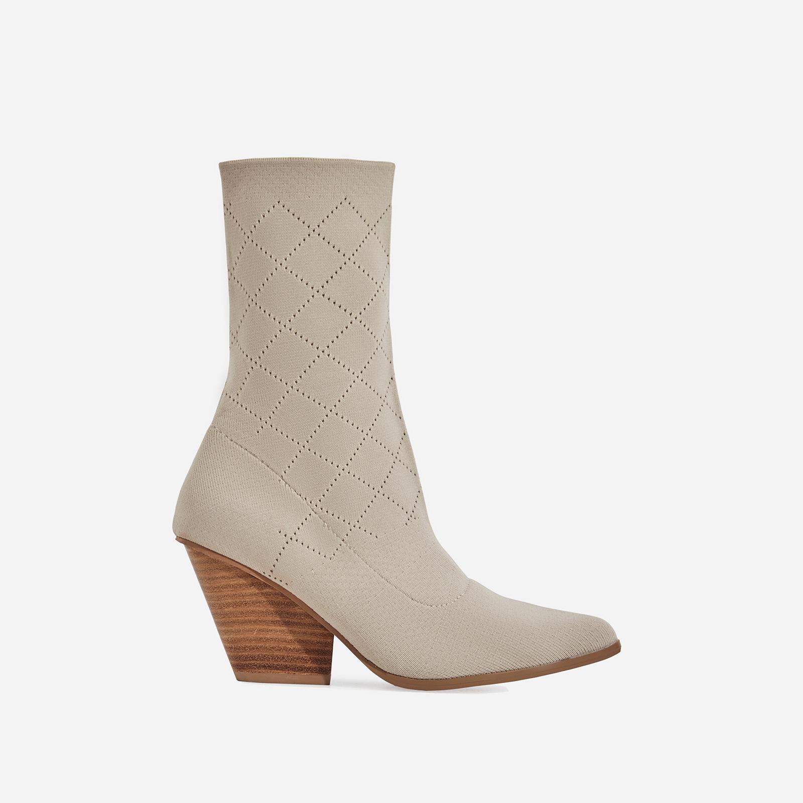 Sammy Block Heel Sock Western Ankle Boot In Nude Knit