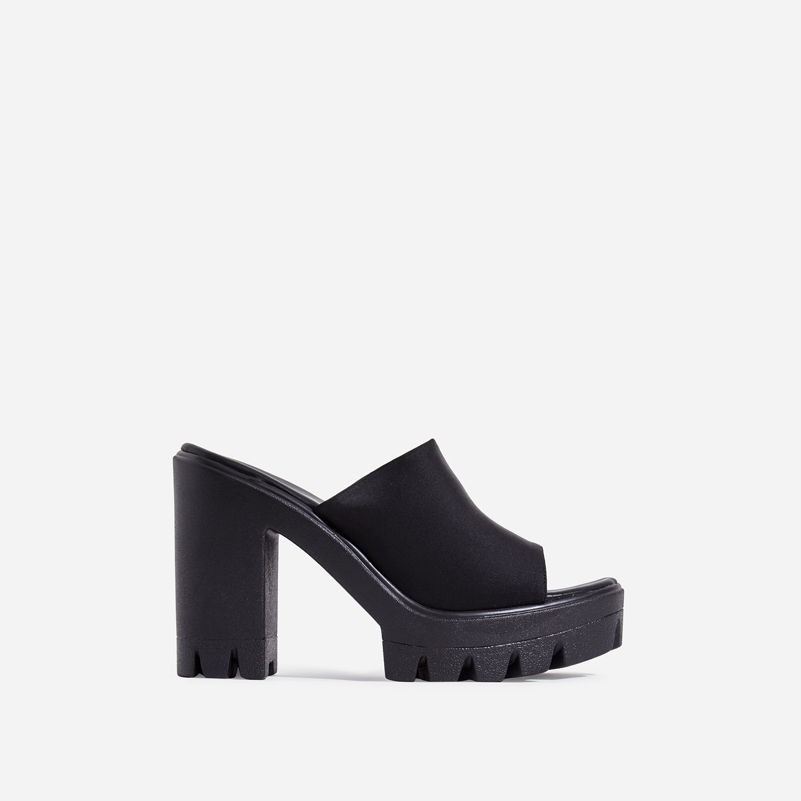 Voice Chunky Sole Peep Toe Heel Mule In Black Lycra