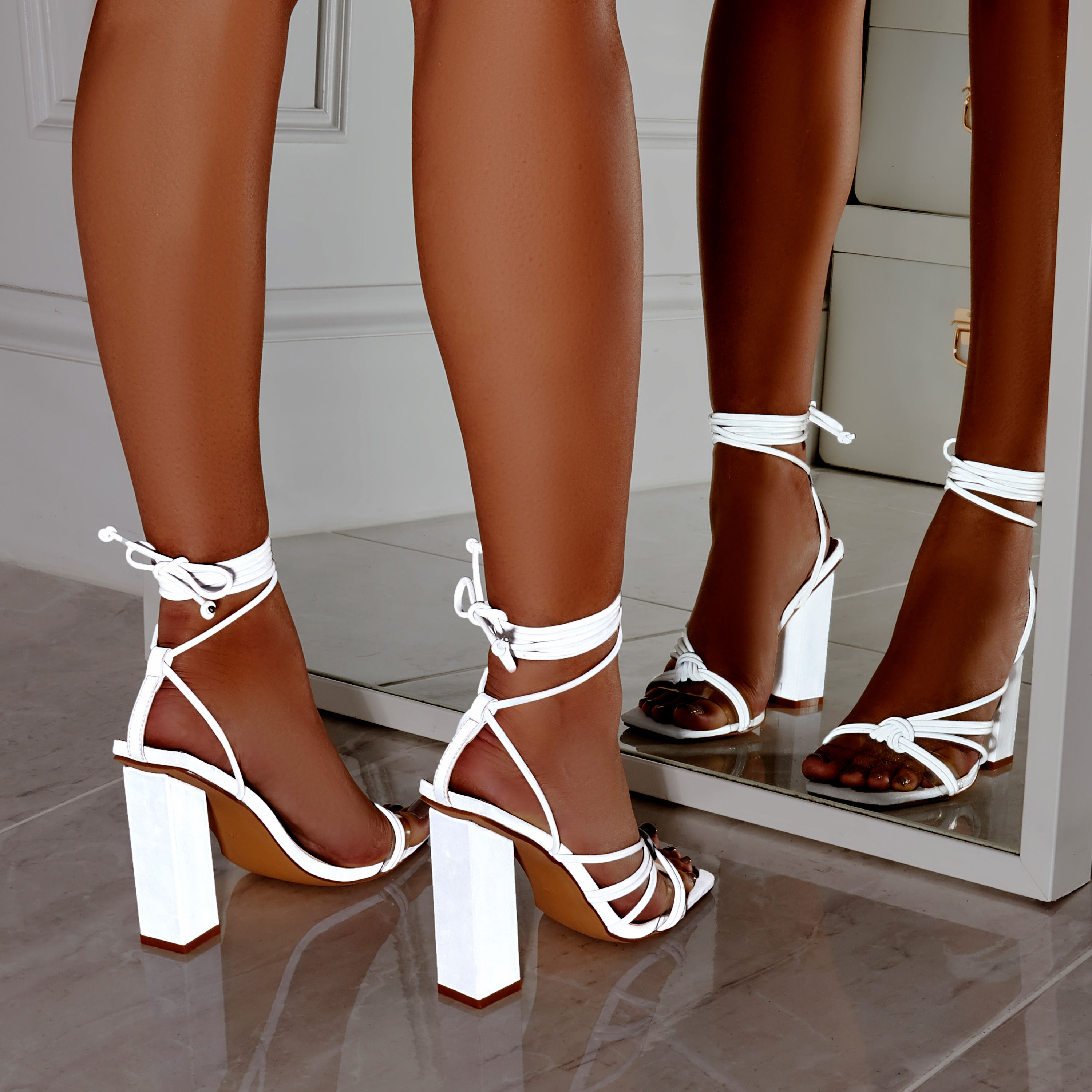 Neima Lace Up Square Toe Perspex Block Heel In Reflective Silver Faux Leather