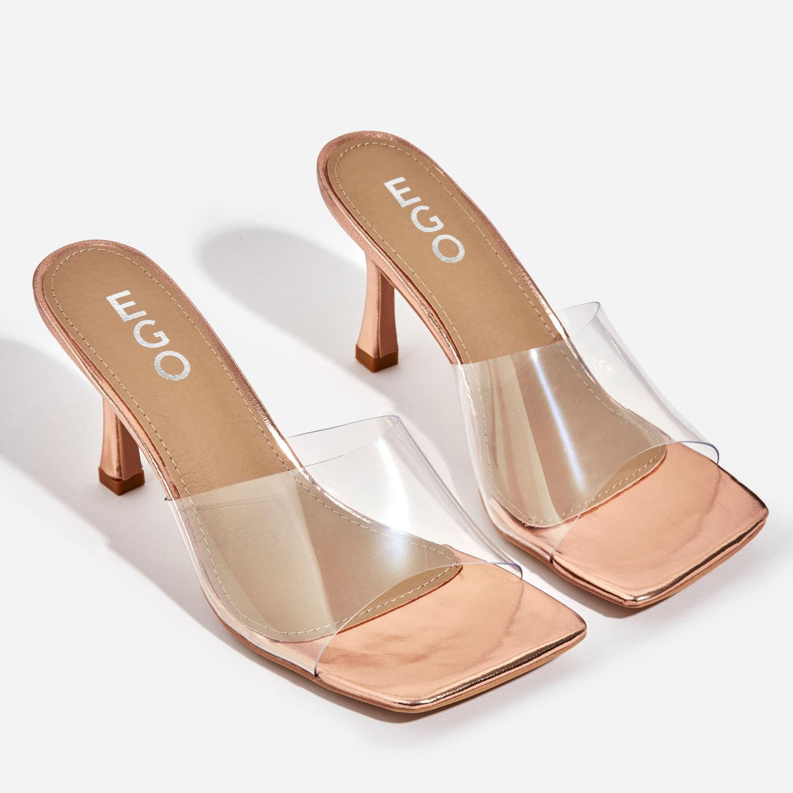 Hilton Square Peep Toe Perspex Kitten Heel Mule In Rose Gold Patent