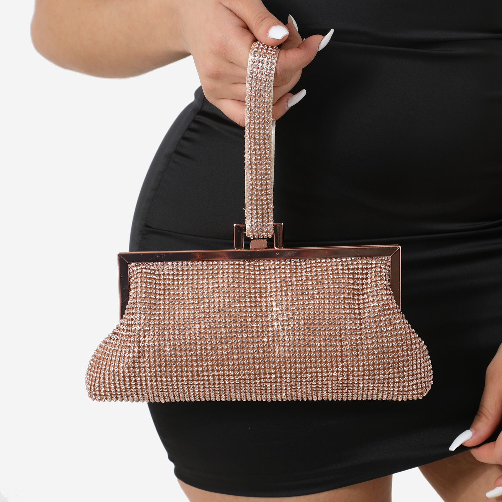 Clutch Bag In Rose Gold Diamante