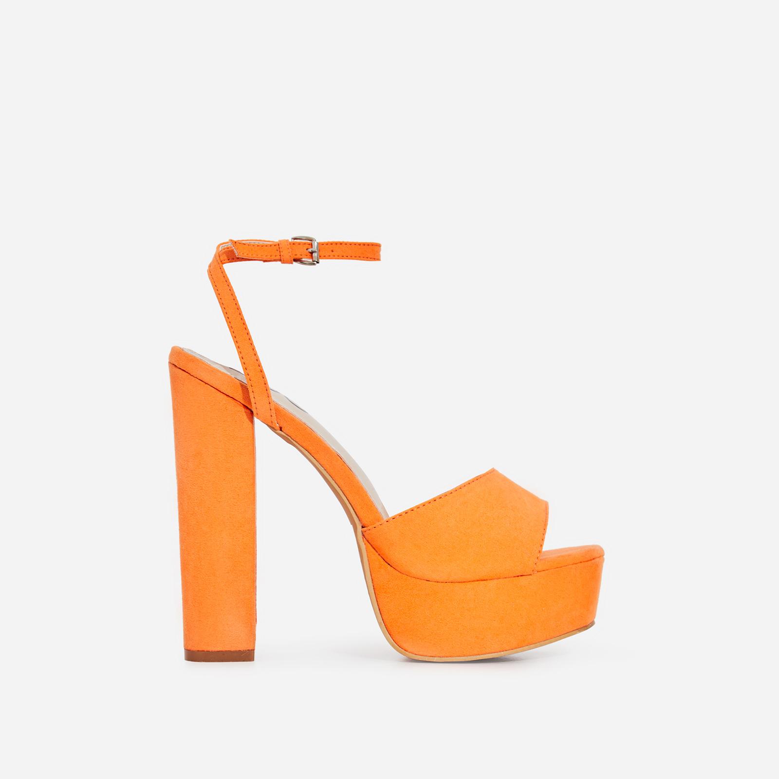 Kaci Platform Block Heel In Neon Orange Faux Suede
