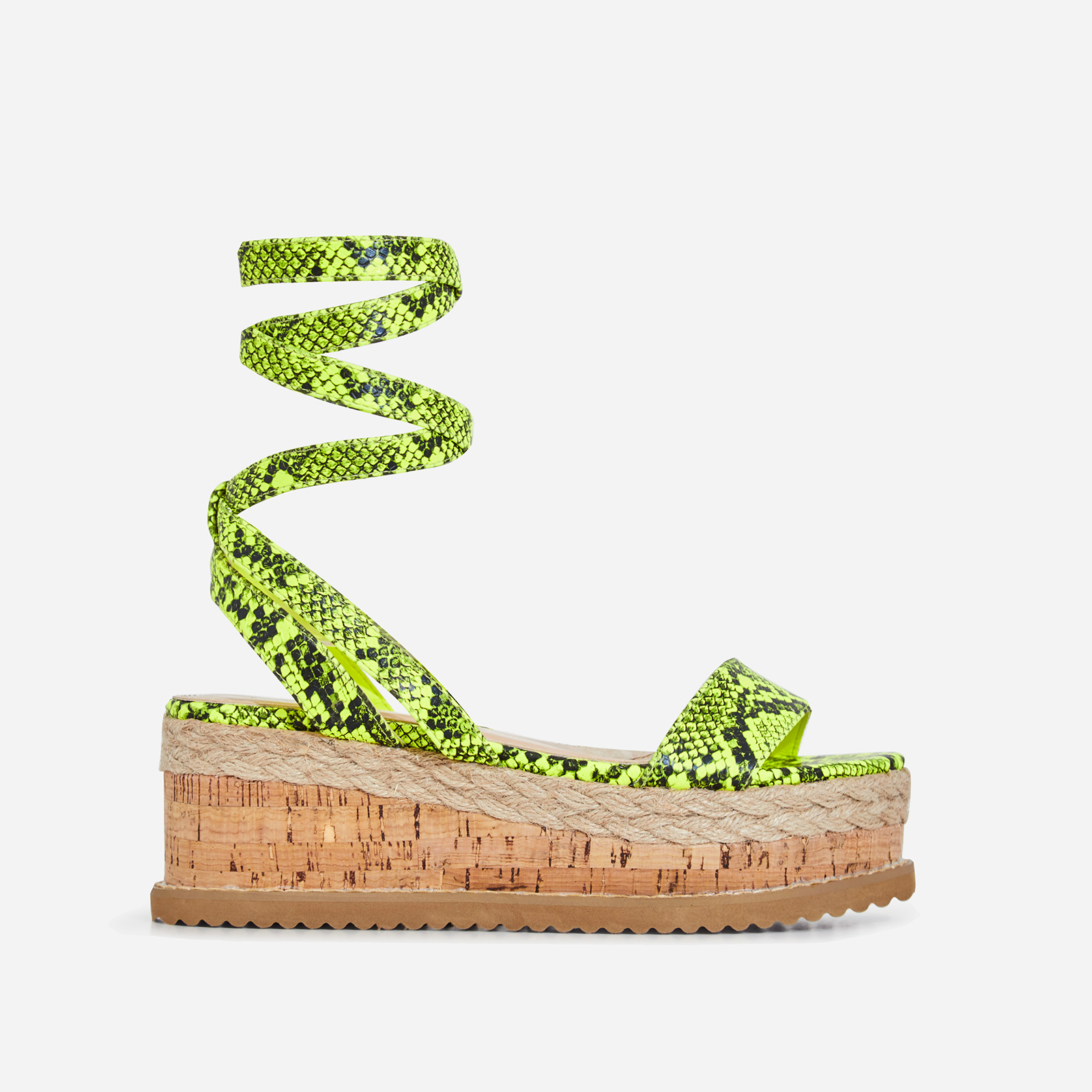 Abigail Strappy Espadrille Flatform In Lime Green Snake Print Faux Leather