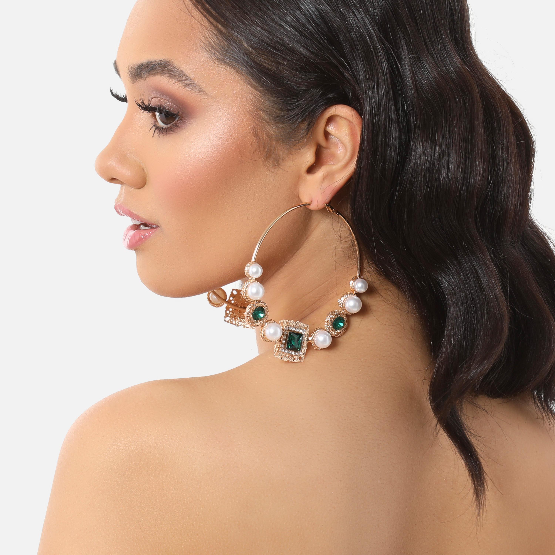 Gemstone And Pearl Detail Oversized Hoop Earrings In Gold