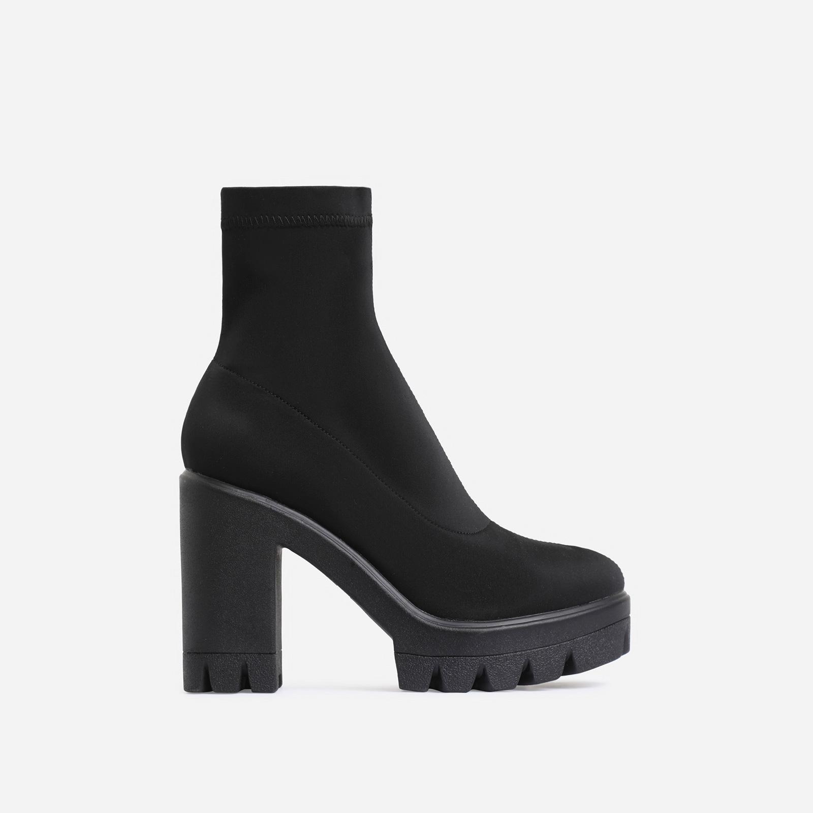 Kaila Chunky Sole Block Heel Ankle Sock Boot In Black Lycra