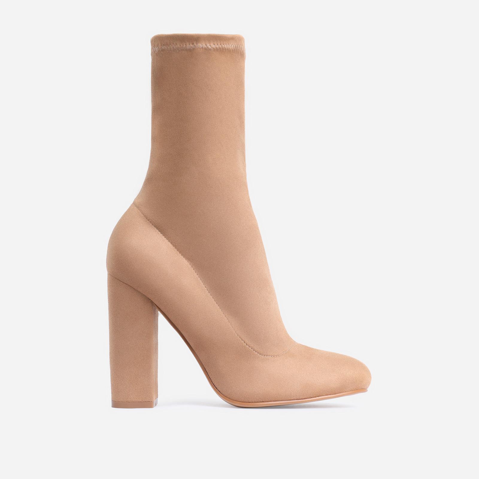 Hayden Block Heel Sock Boot In Khaki Faux Suede