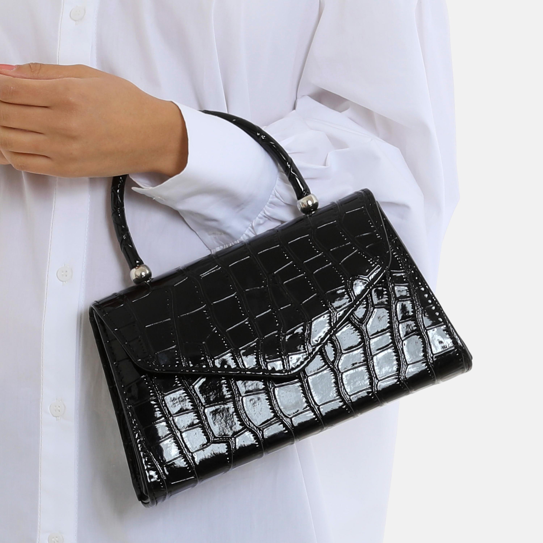 Chain Detail Boxy Handbag In Black Croc Print Patent