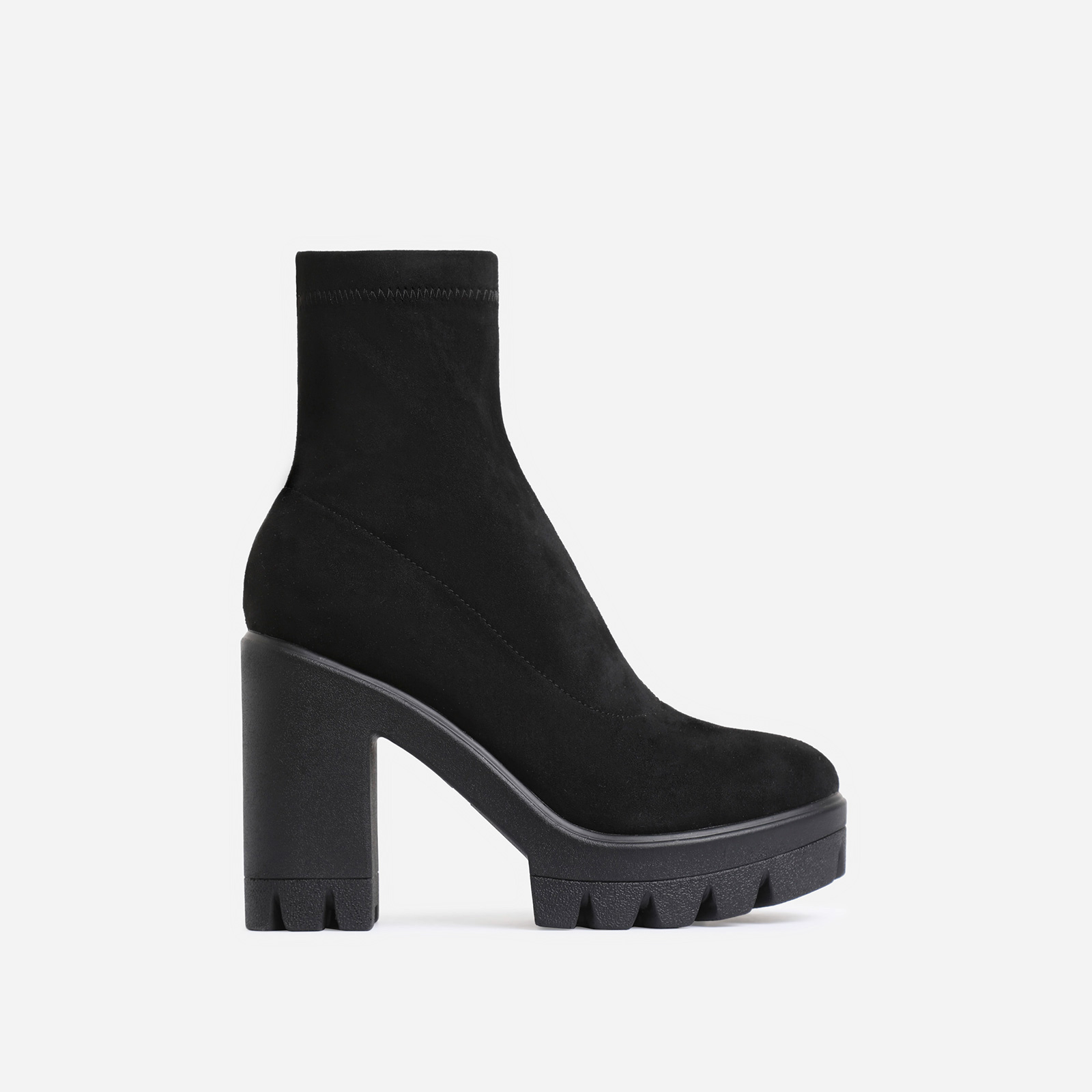 Kaila Chunky Sole Block Heel Ankle Sock Boot In Black Faux Suede