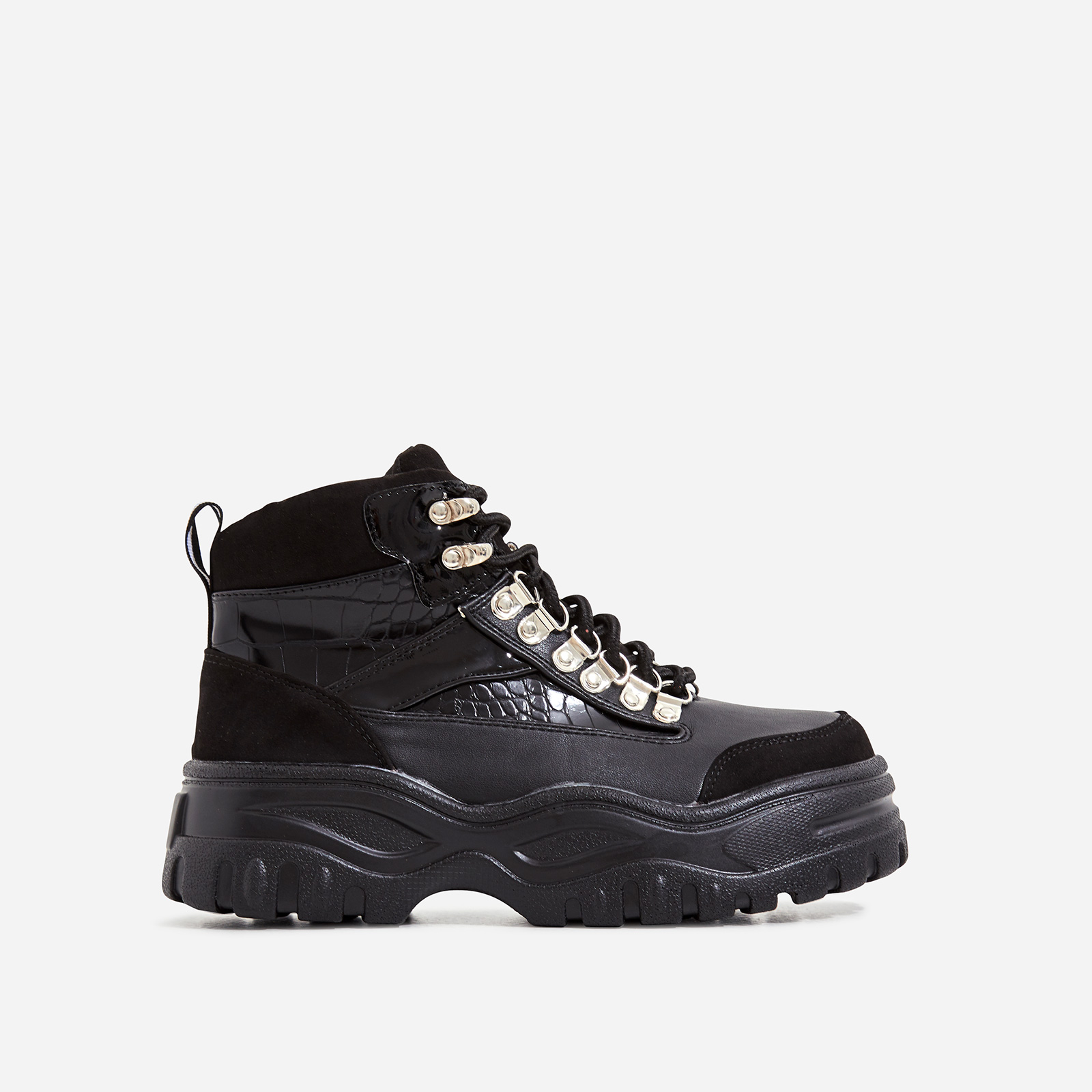 Hammer Lace Up Chunky Sole Ankle Hiker Boot In Black Croc Print Faux Leather