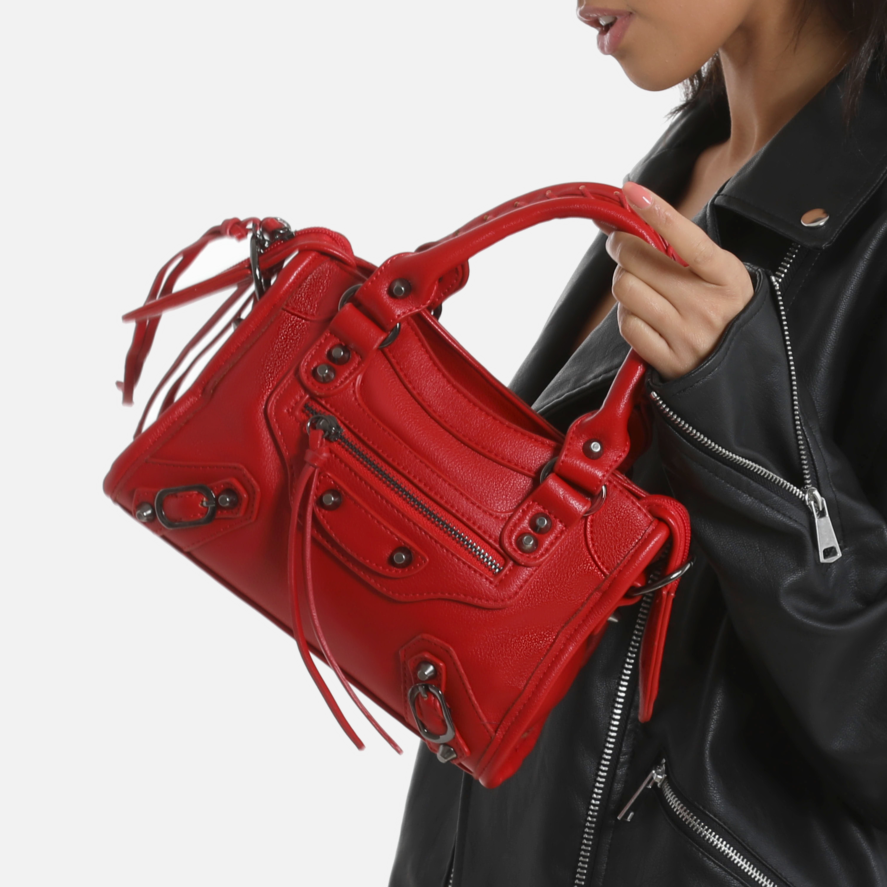 Buckle Detail Mini City Bag In Red Faux Leather