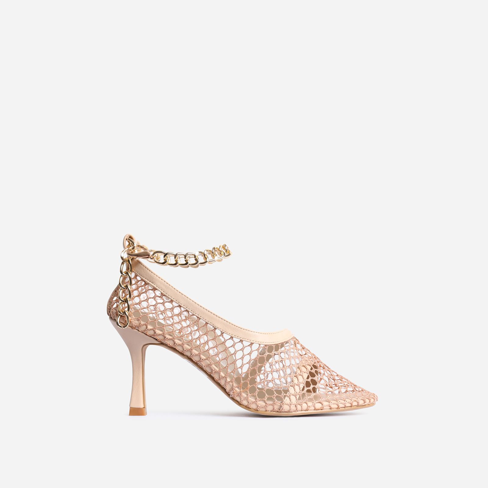 Winnie Chain Detail Fishnet Court Kitten Heel In Nude Faux Leather