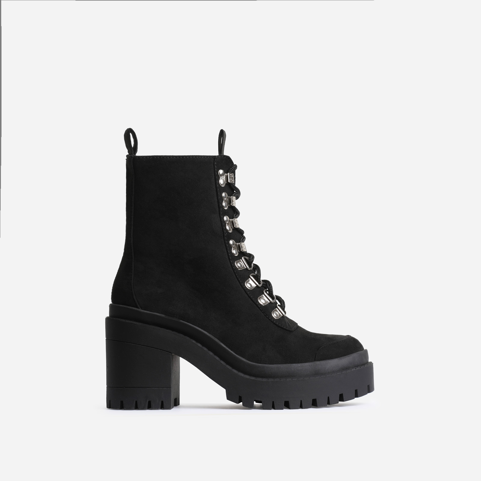 Maura Chunky Sole Lace Up Ankle Biker Boot In Black Faux Suede