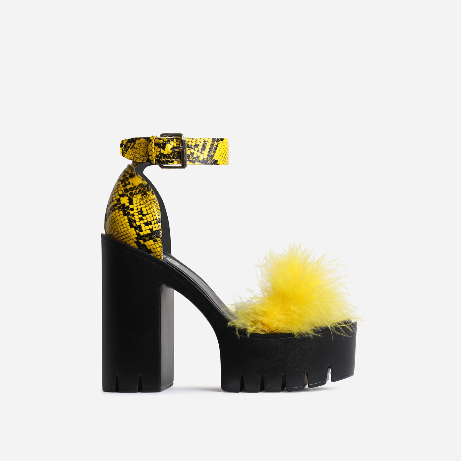 Pepper Platform Fluffy Detail Block Heel In Yellow Snake Print Faux Leather