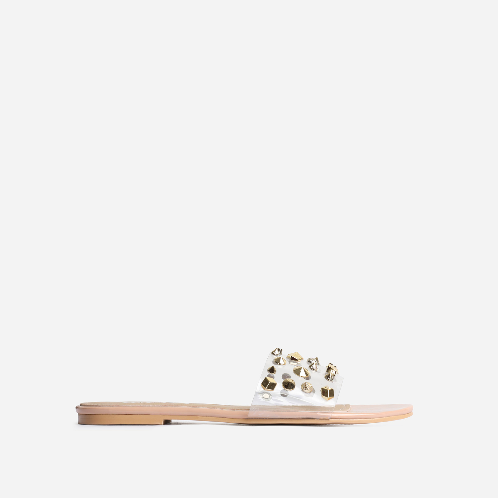 Motion Studded Detail Clear Perspex Flat Sandal In Nude Patent