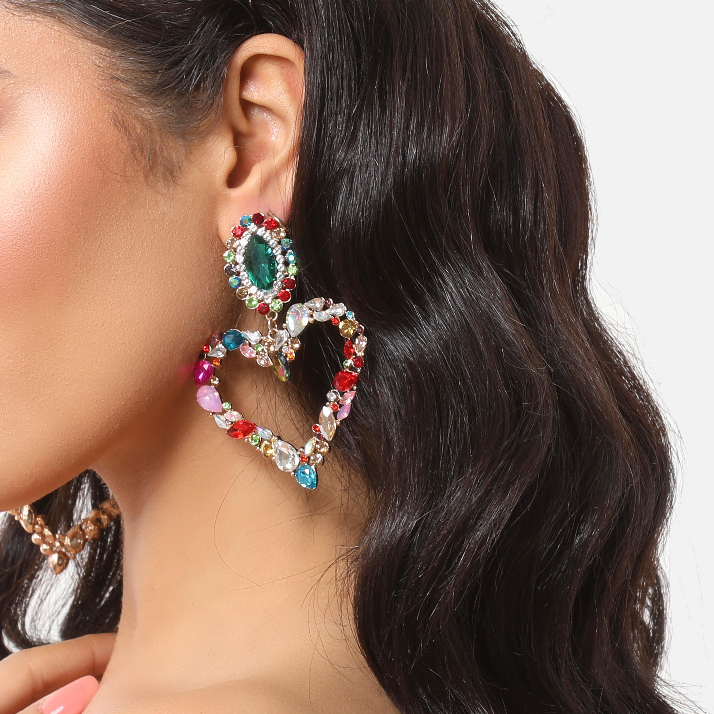 Multi Colour Gemstone Detail Heart Drop Earrings