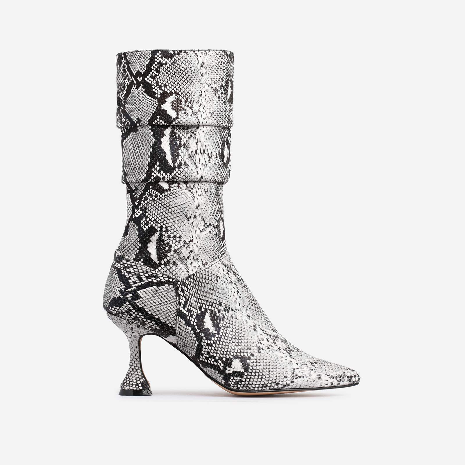Collab Pyramid Heel Slouched Ankle Boot In Nude Snake Print Faux Leather
