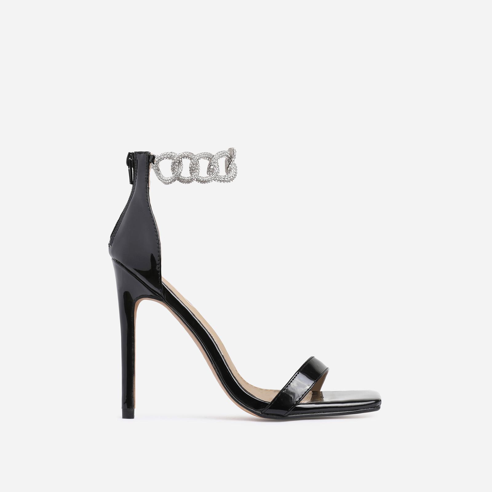 Barbie Diamante Chain Detail Square Toe Heel In Black Patent