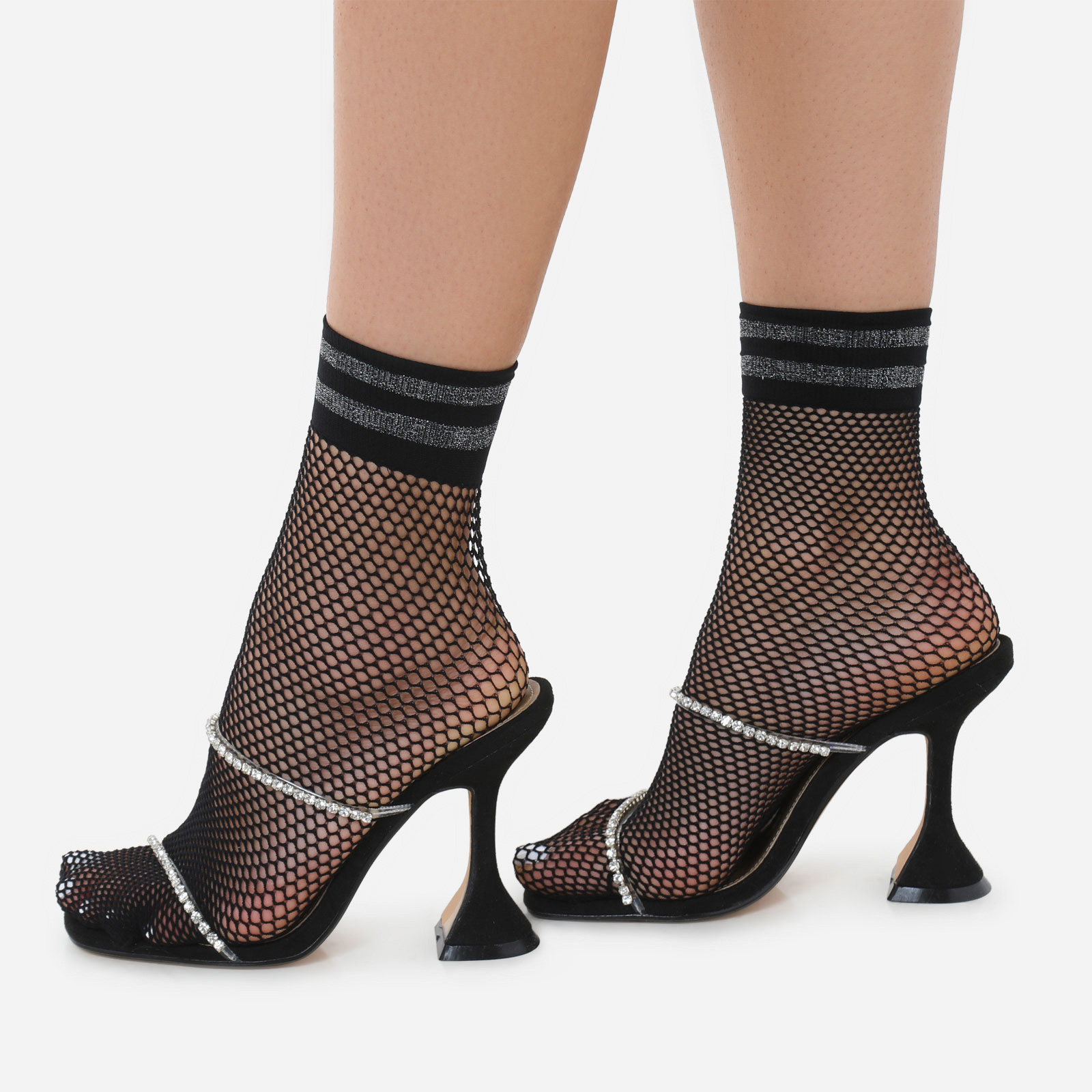 Glitter Band Socks In Black Fishnet