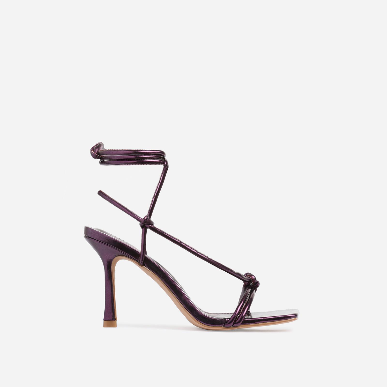 Priya Square Toe Lace Up Heel In Metallic Purple Faux Leather