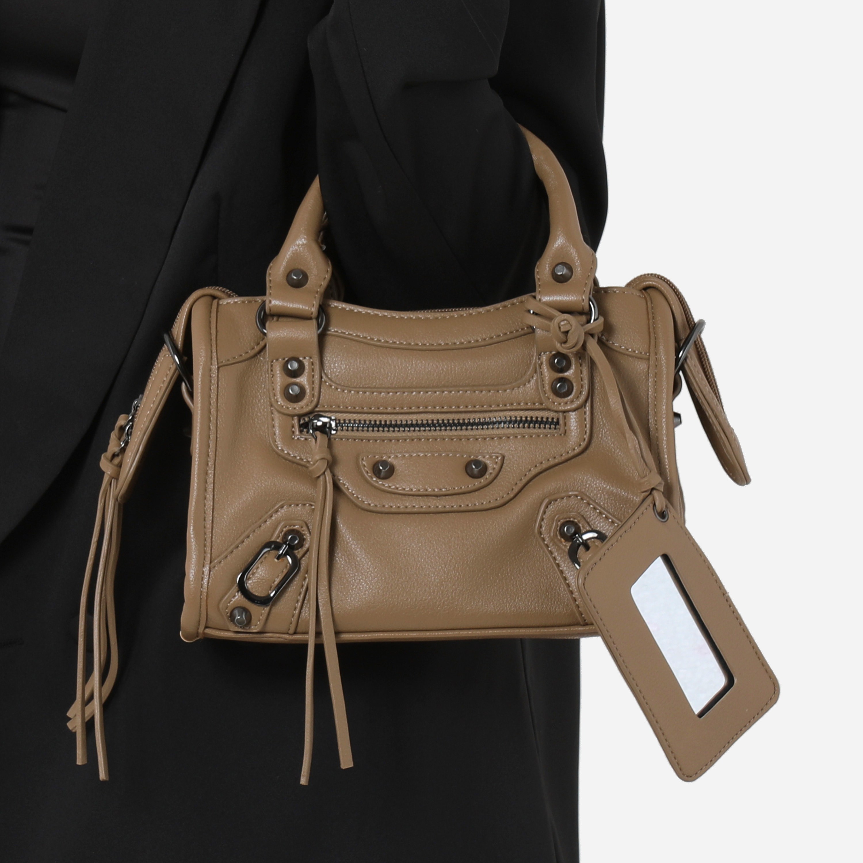 Buckle Detail Mini City Bag In Khaki Faux Leather