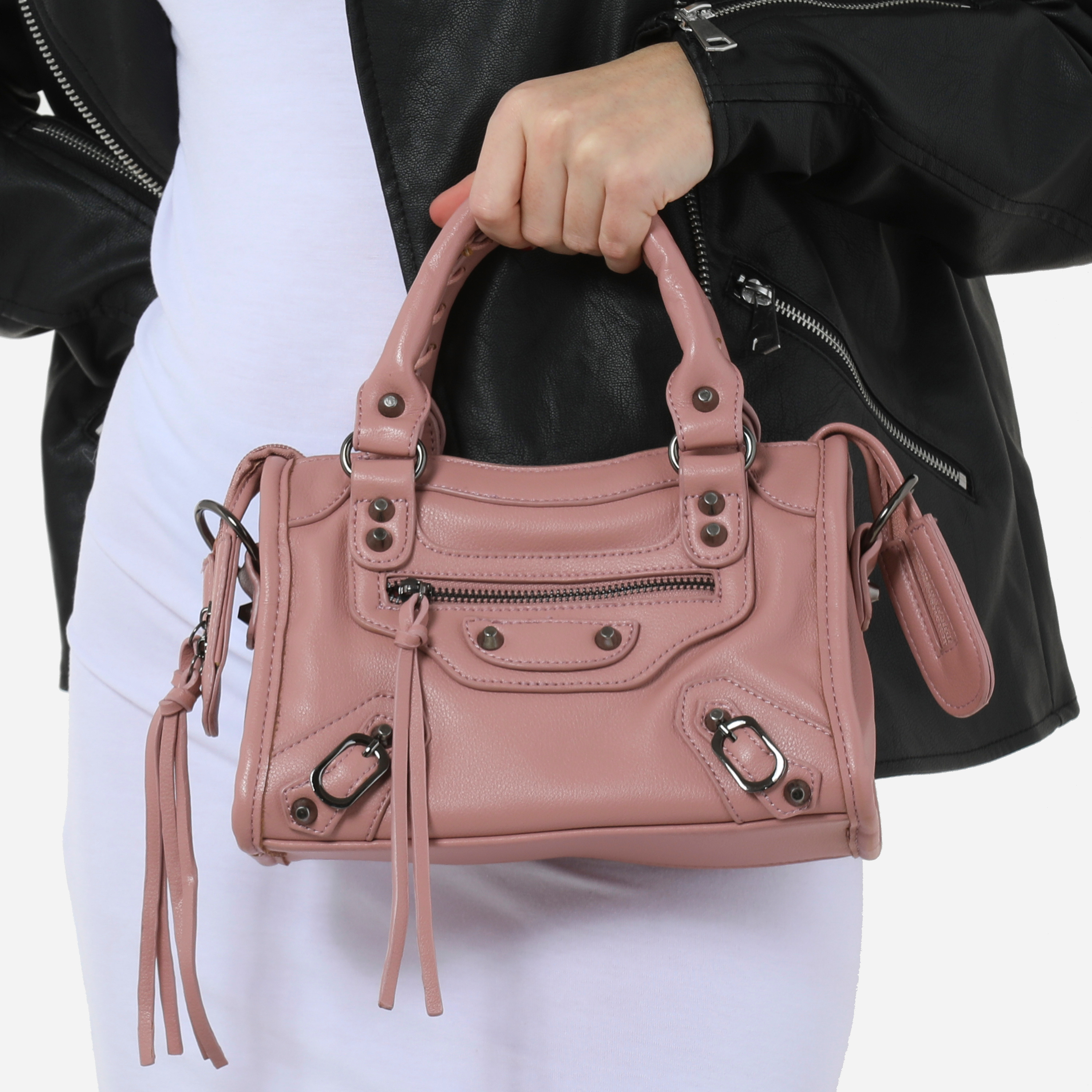 Buckle Detail Mini City Bag In Pink Faux Leather