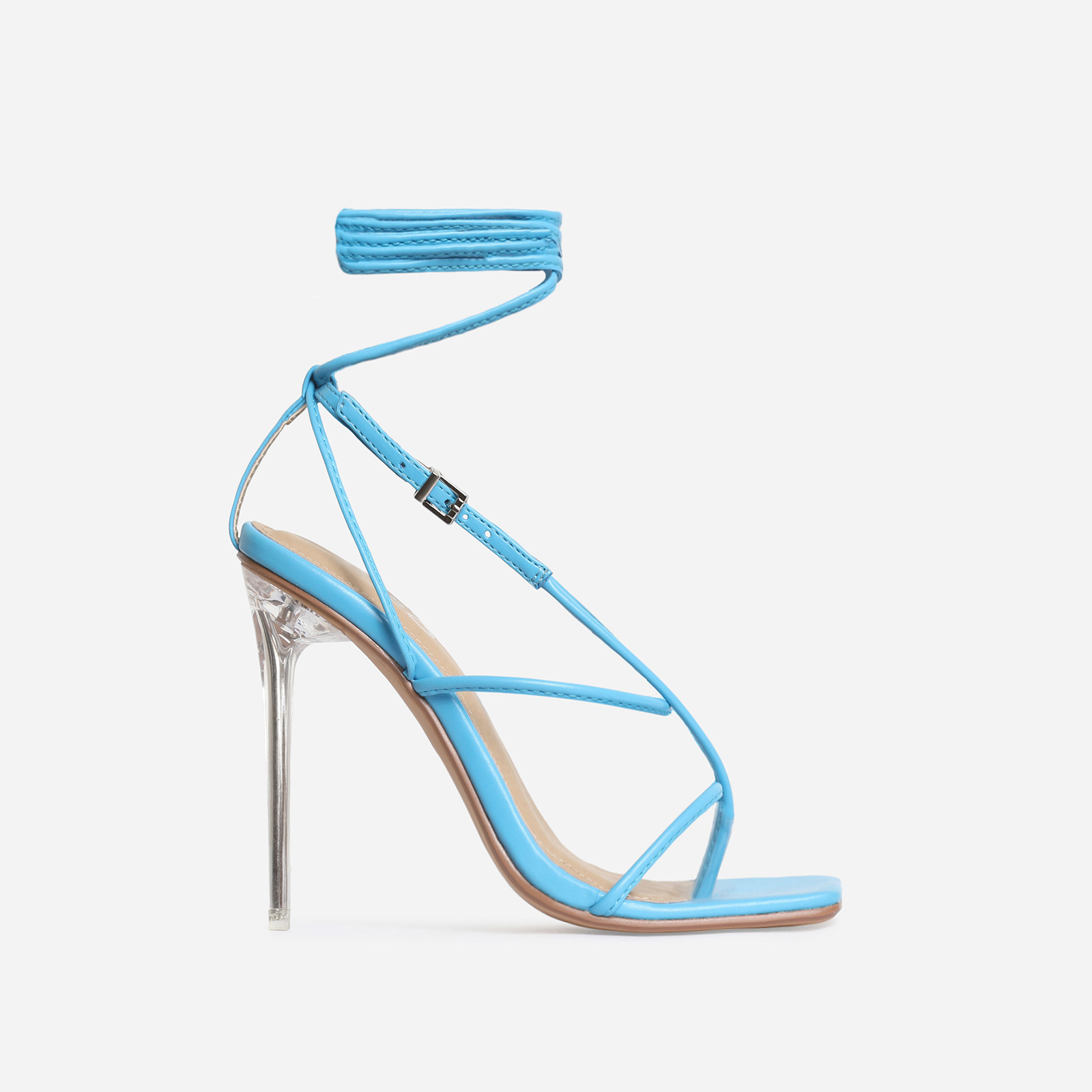 True Square Toe Lace Up Clear Perspex Heel In Blue Faux Leather