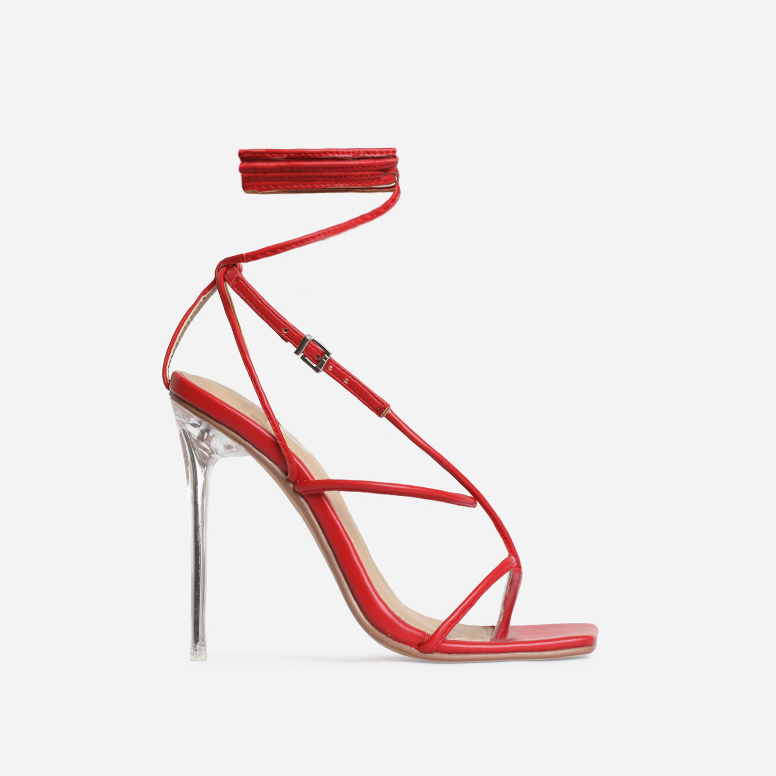 True Square Toe Lace Up Perspex Heel In Red Faux Leather