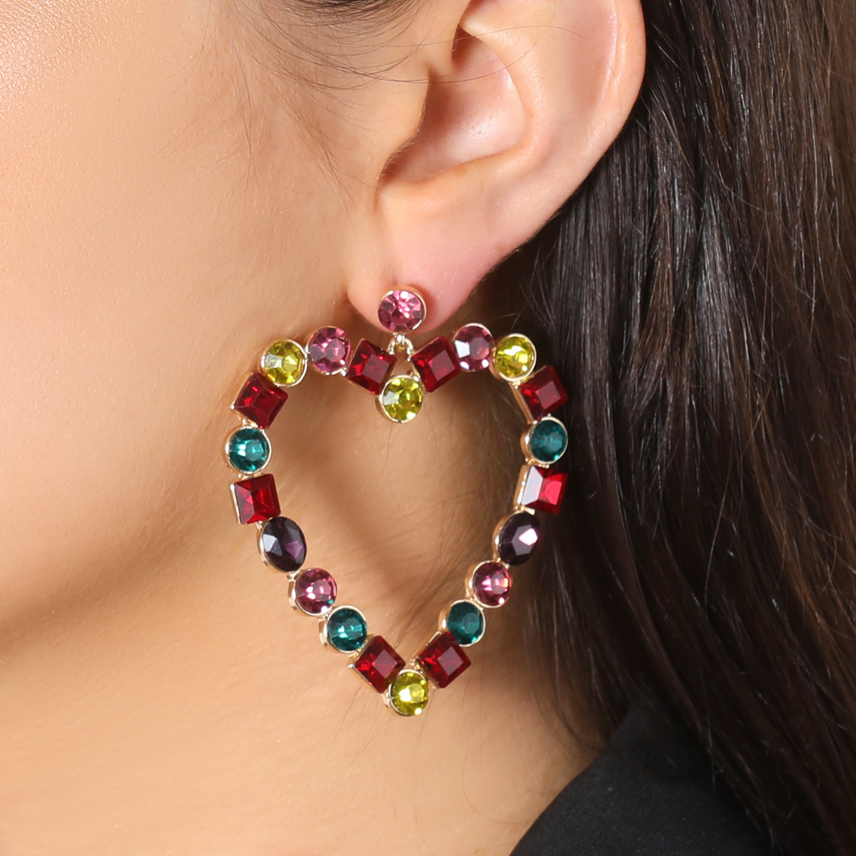 Gem Detail Heart Earrings In Multi