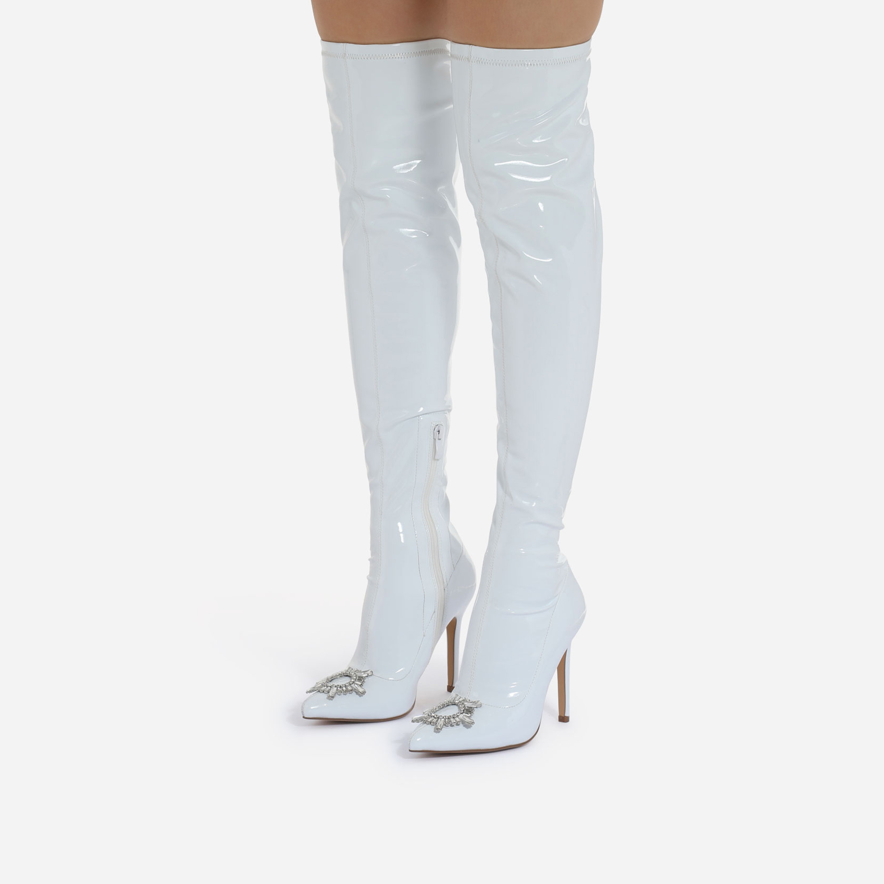 Posy Diamante Detail Over The Knee Thigh High Long Boot In White Patent