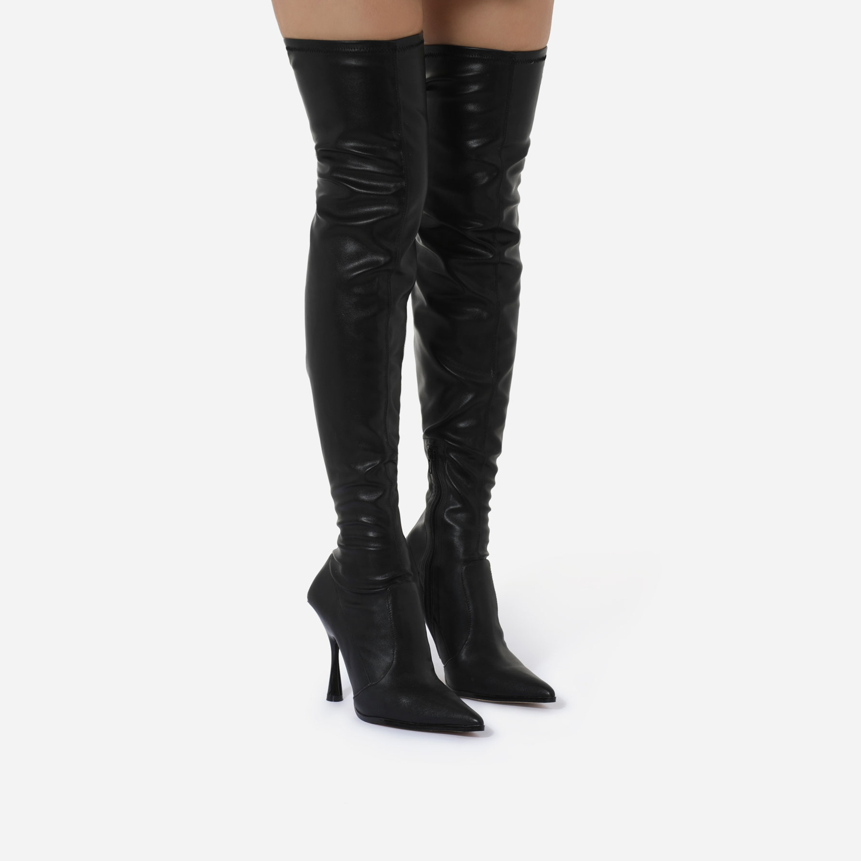 Melba Curved Heel Over The Knee Thigh High Long Sock Boot In Black Faux Leather