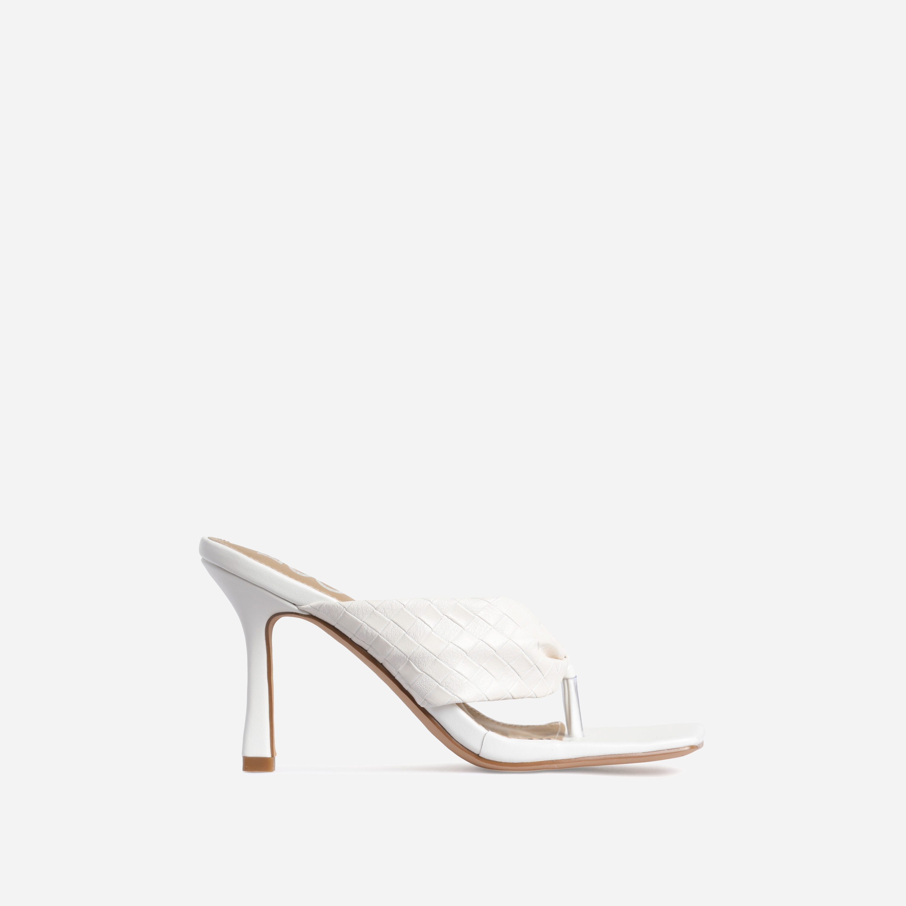 Brave Braided Detail Square Kitten Toe Heel Mule In White Faux Leather
