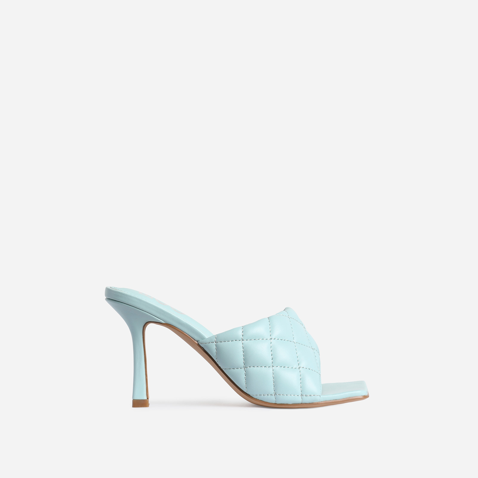 Tropez Square Toe Quilted Heel Mule In Light Blue Faux Leather