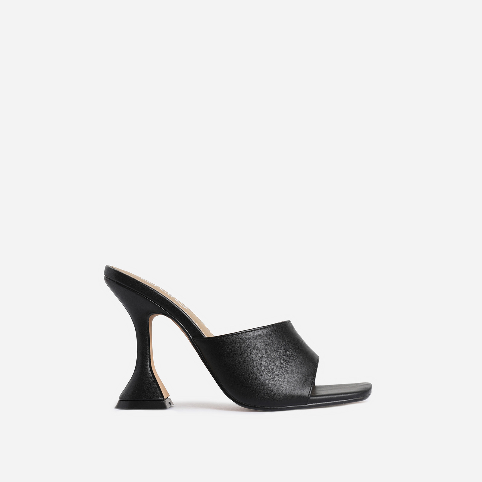 Jordi Peep Square Toe Heel Mule In Black Faux Leather