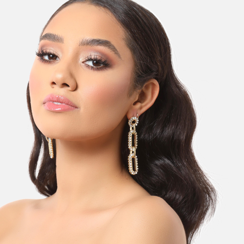 Diamante Chain Link Drop Earrings In Gold