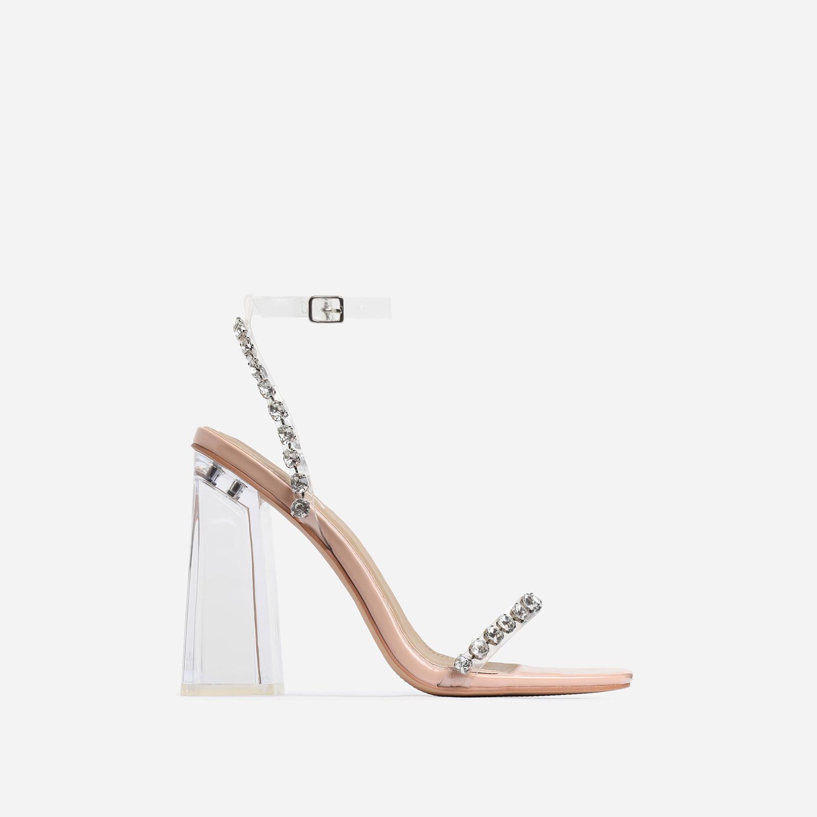 Rally Diamante Detail Flared Perspex Block Heel In Nude Patent