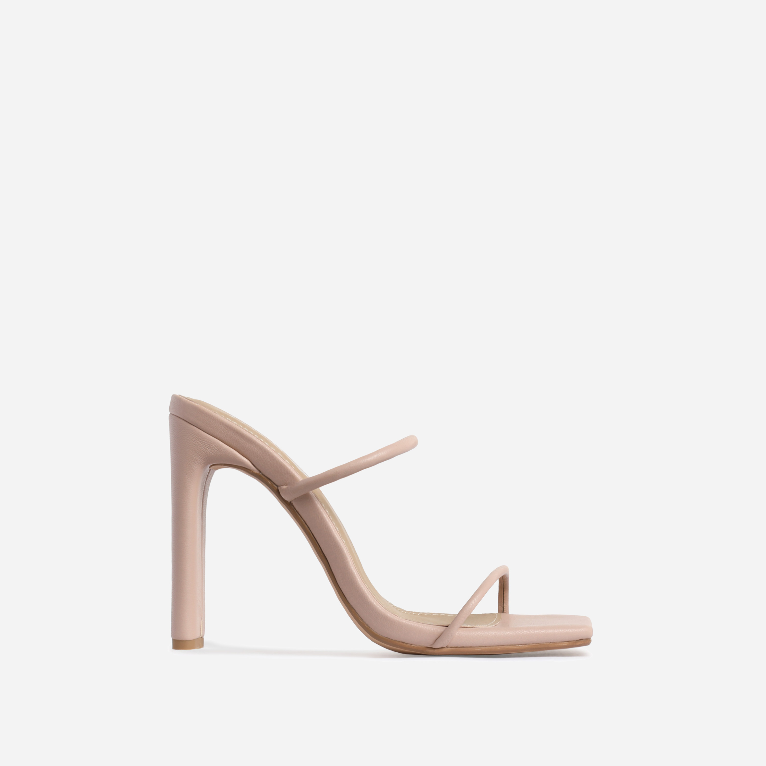 Highland Barely There Square Toe Heel Mule In Nude Faux Leather