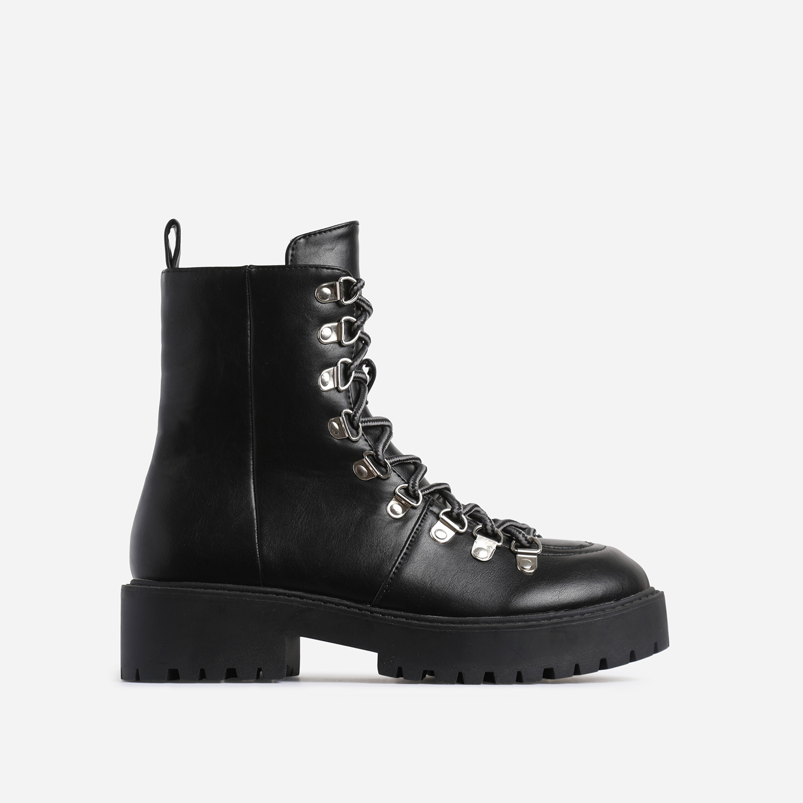 Phoenix Black Lace Up Ankle Biker Boot In Black Faux Leather