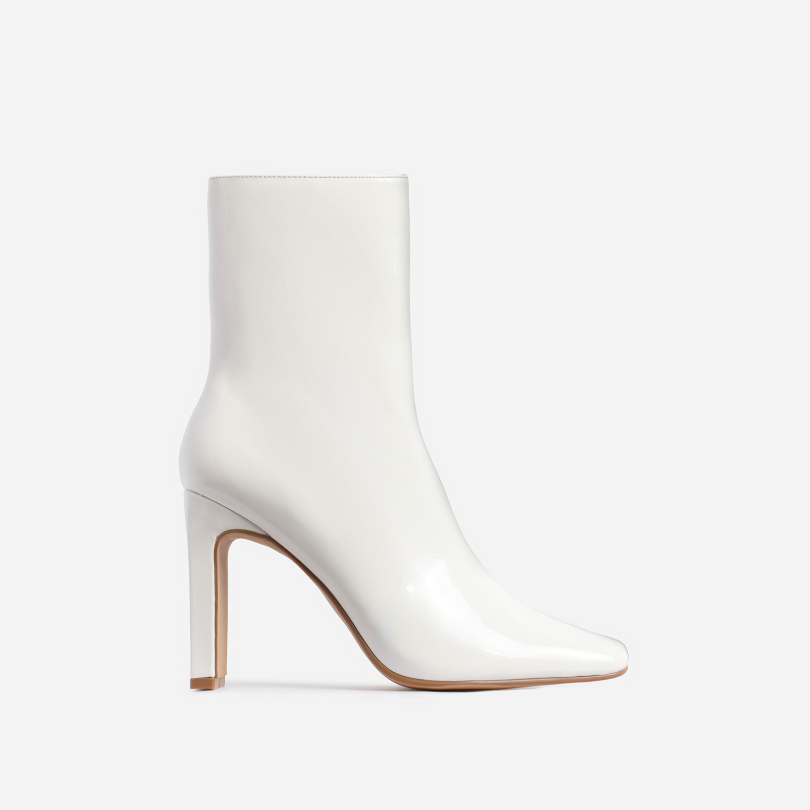 Klass Square Toe Thin Block Heel Ankle Boot In White Faux Leather