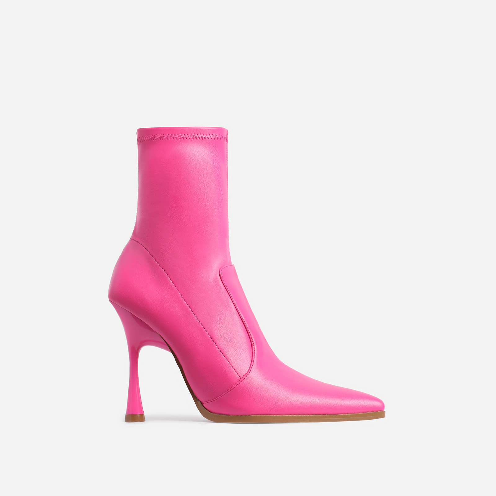 Aspen Curved Heel Ankle Sock Boot In Pink Faux Leather