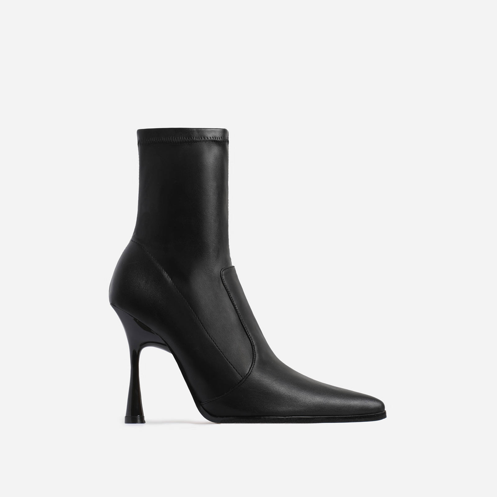 Aspen Curved Heel Ankle Sock Boot In Black Faux Leather