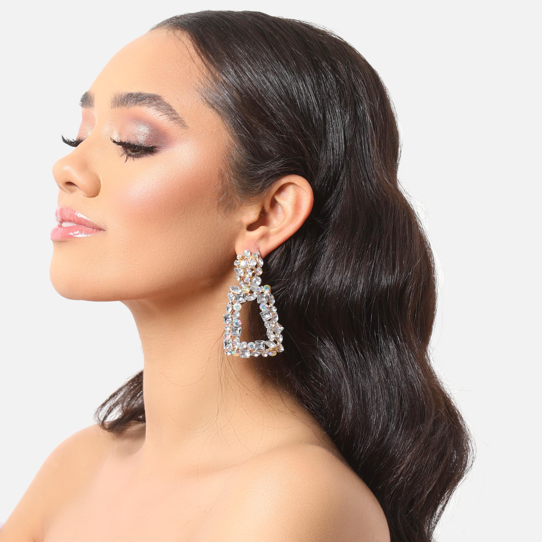 Gemstone Detail Square Drop Earrings In Gold