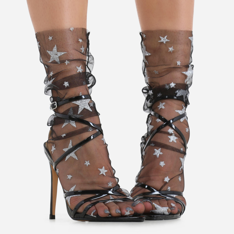 Glitter Star Detail Socks In Black Mesh
