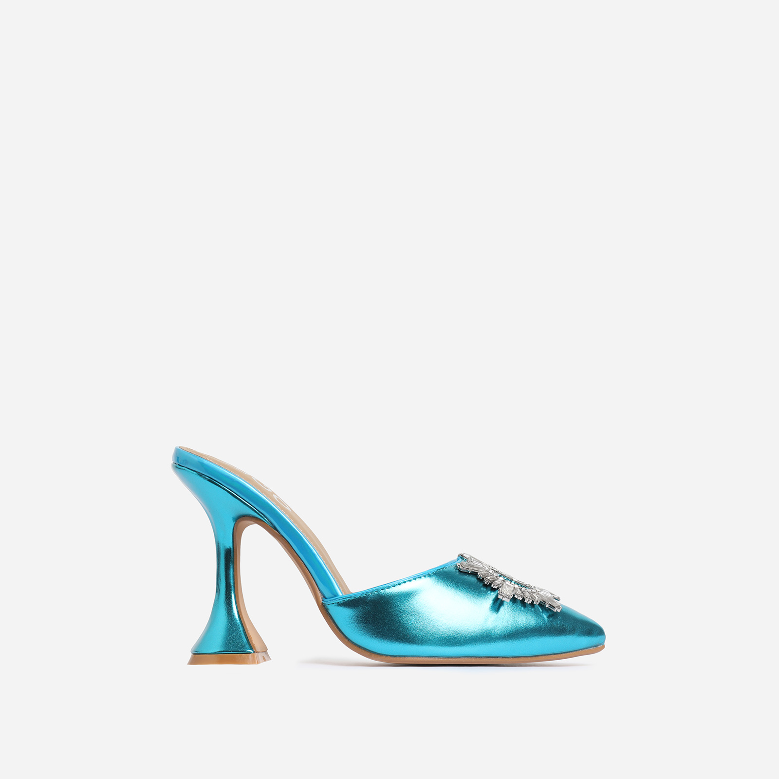 Moonlight Diamante Detail Pyramid Heel Mule In Blue Faux Leather